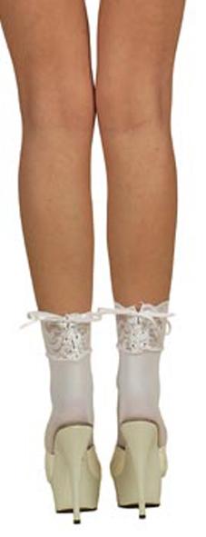Носочки с кружевом, белые (REN205101)