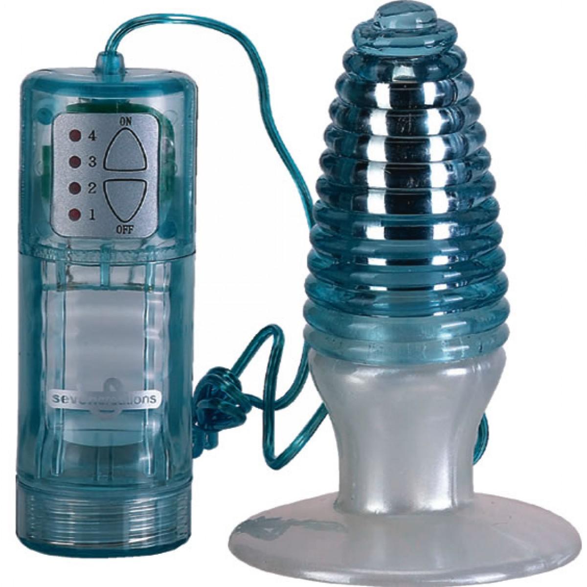 Анальная пробка с вибрацией Swirl Top Butt Plug Vibe, голубая