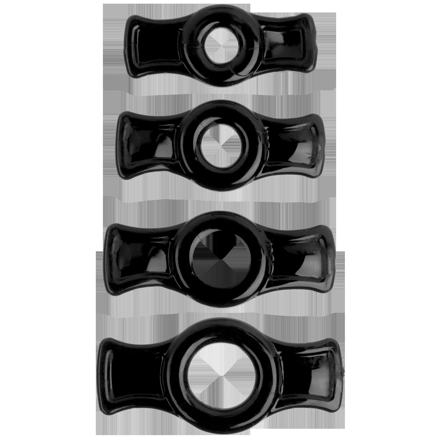 Набор эрекционных колец TitanMen Cock Ring, черный