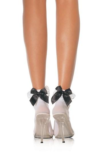 Носки LEG3029BL/W, белые с черным бантом