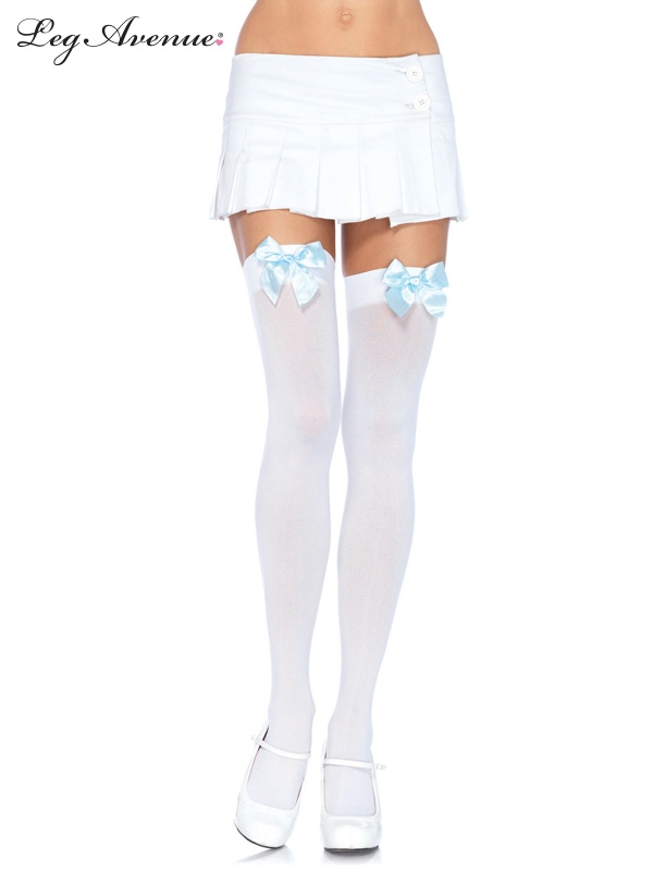 Чулки Leg Avenue LEG6255W/L.B, белые с голубым бантом