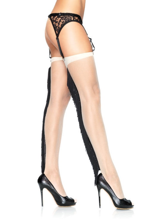 Чулочки с бахромой SPANDEX SHEER STOCKINGS WITH FRINGE BACKSEAMS SML/MED NUDE/BLACK