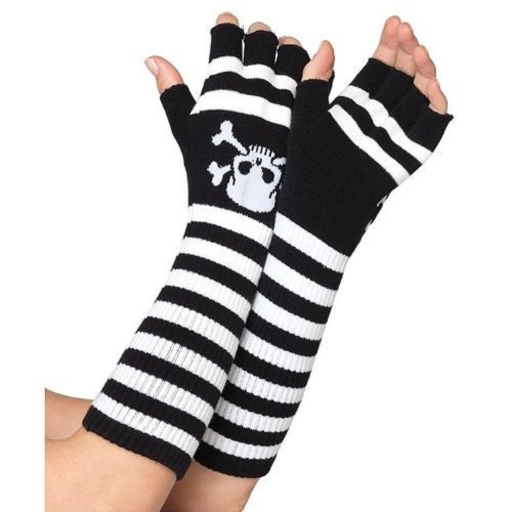 Черно-белые перчатки ACRYLIC ELBOW LENGTH FINGERLESS GLOVES O/S BLACK/PINK