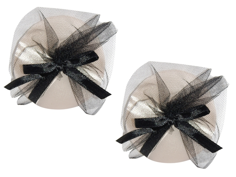 SATIN NIPPLE COVER WITH TULLE FAN DETAIL AND BOW ACCENT O/S IVORY/BLACK