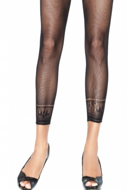 Полупрозрачные леггинсы с вышивкой OPAQUE MICRO NET FOOTLESS TIGHTS WITH CROCHETED ANKLE O/S BLACK