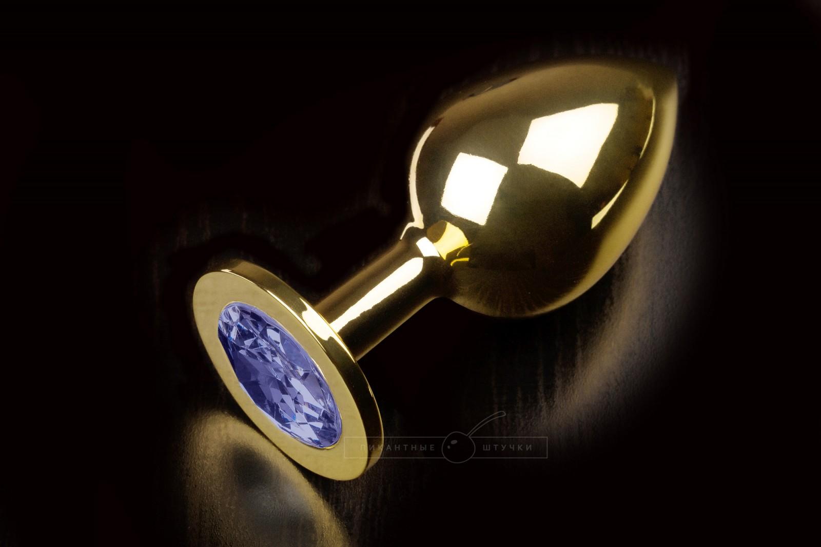 Большая золотистая анальная пробка с кристаллом, синий