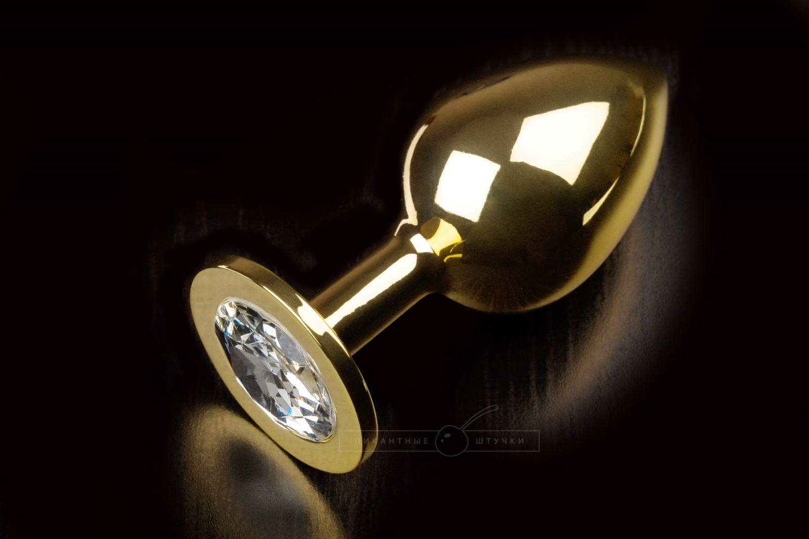 Большая золотистая анальная пробка с кристаллом, белый
