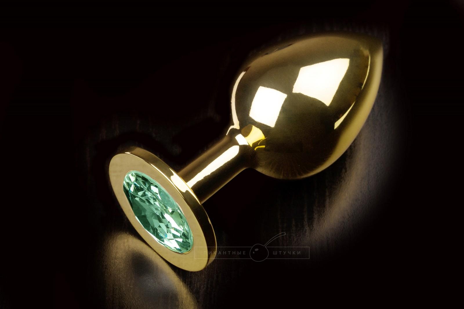 Большая золотистая анальная пробка с кристаллом, зеленый