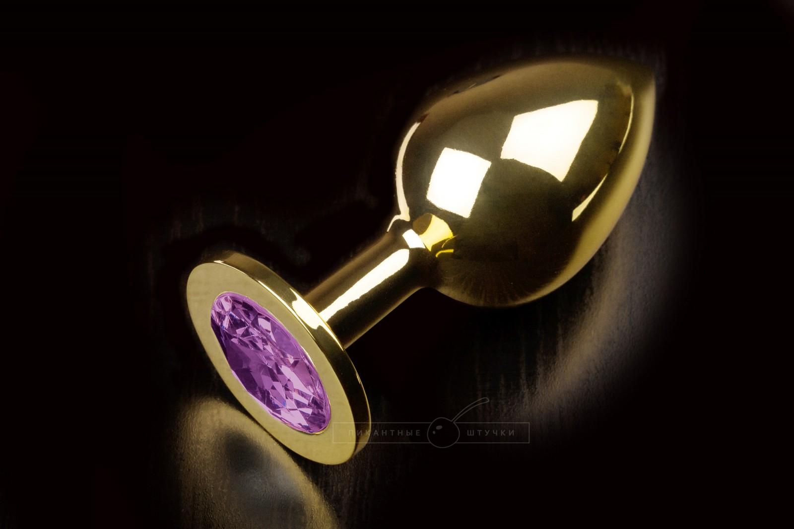Большая золотистая анальная пробка с кристаллом, фиолетовый