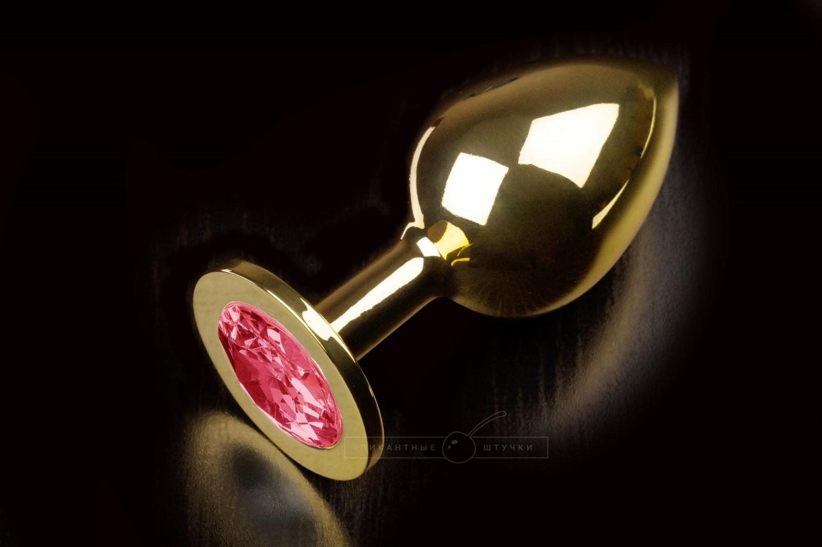 Большая золотистая анальная пробка с кристаллом, красный