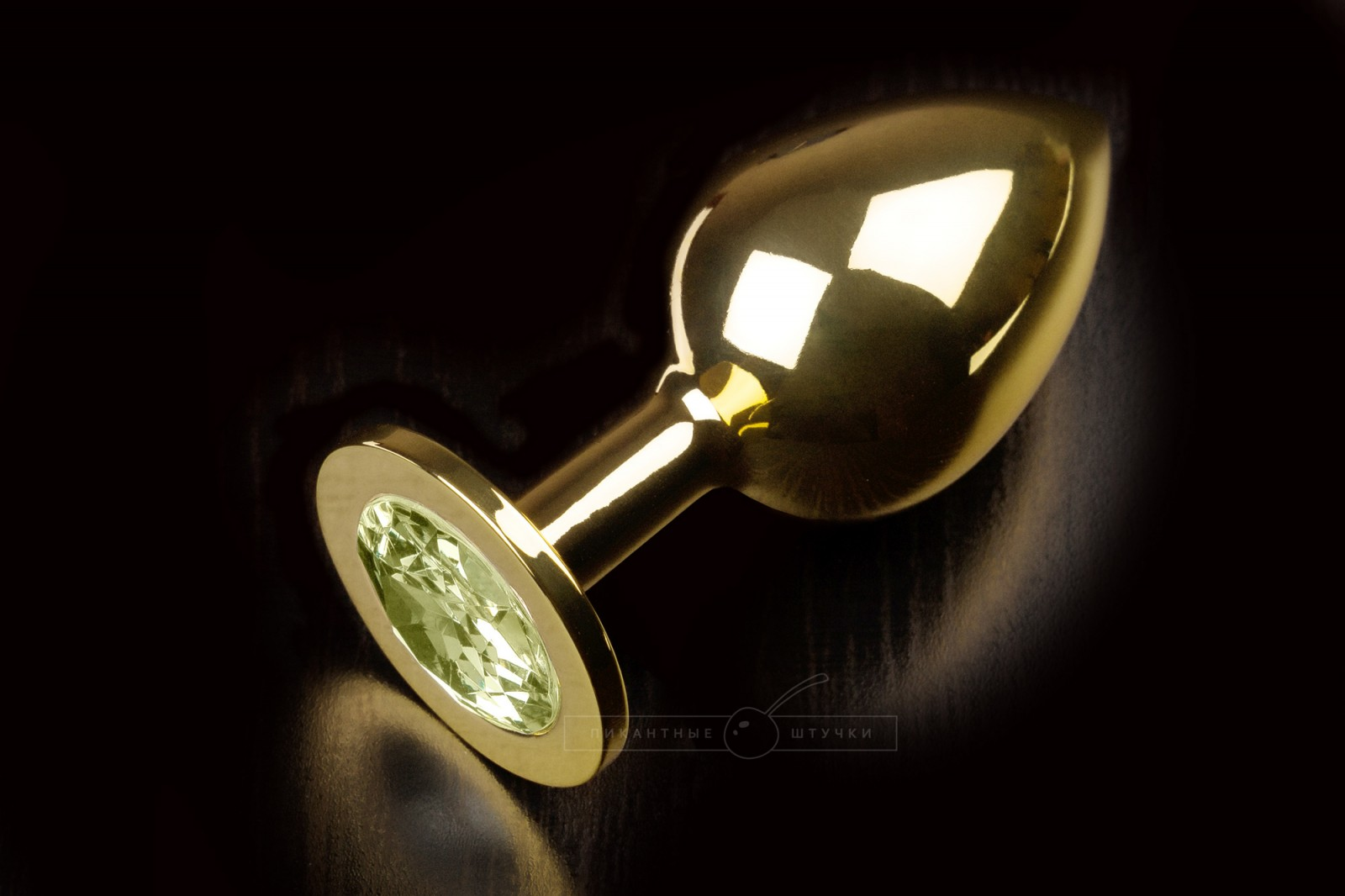 Большая золотистая анальная пробка с кристаллом, желтый