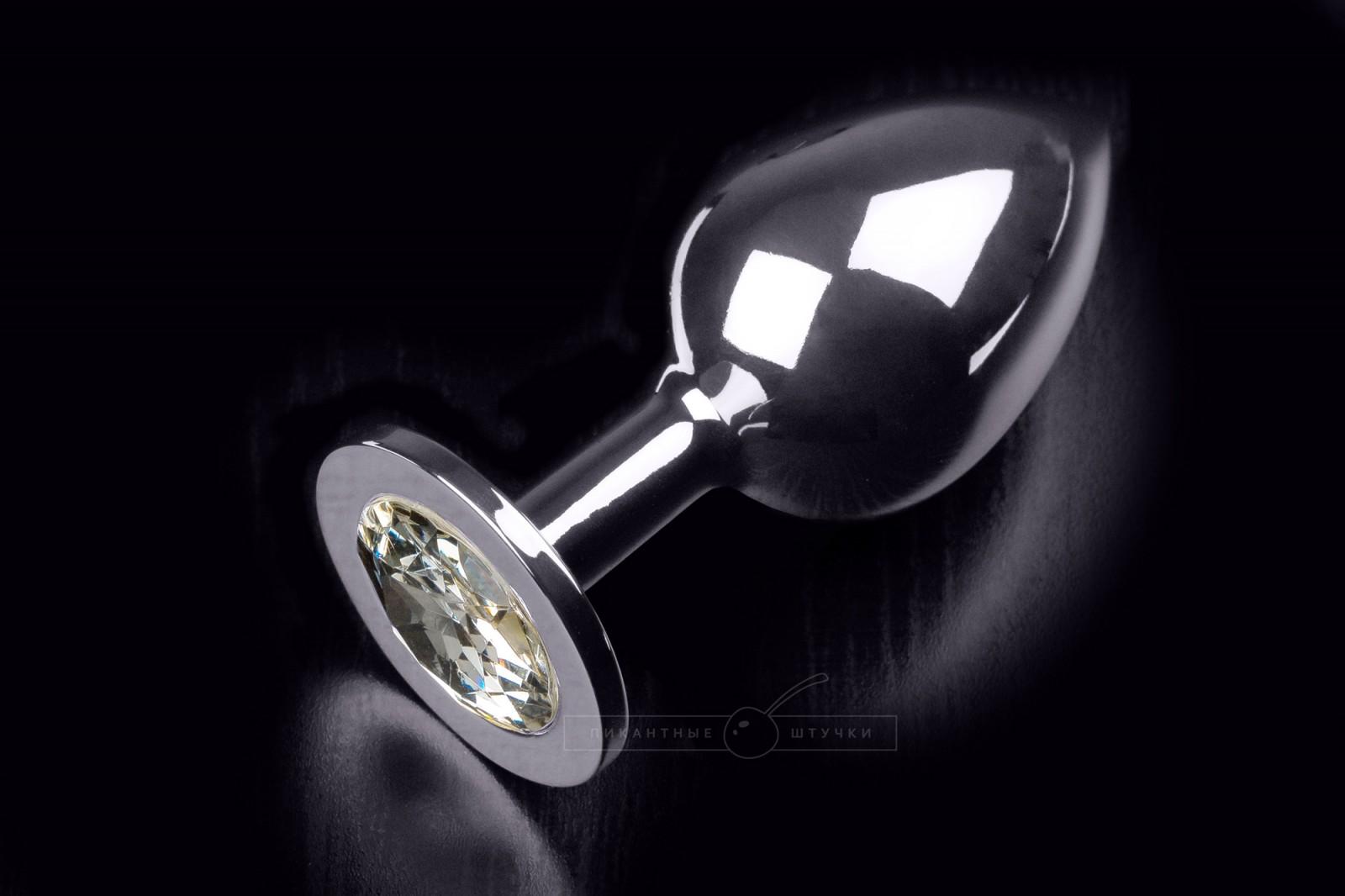 Большая серебристая анальная пробка с кристаллом, белый