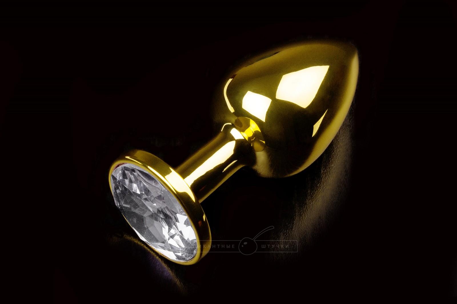 Малая золотистая анальная пробка с кристаллом, белым