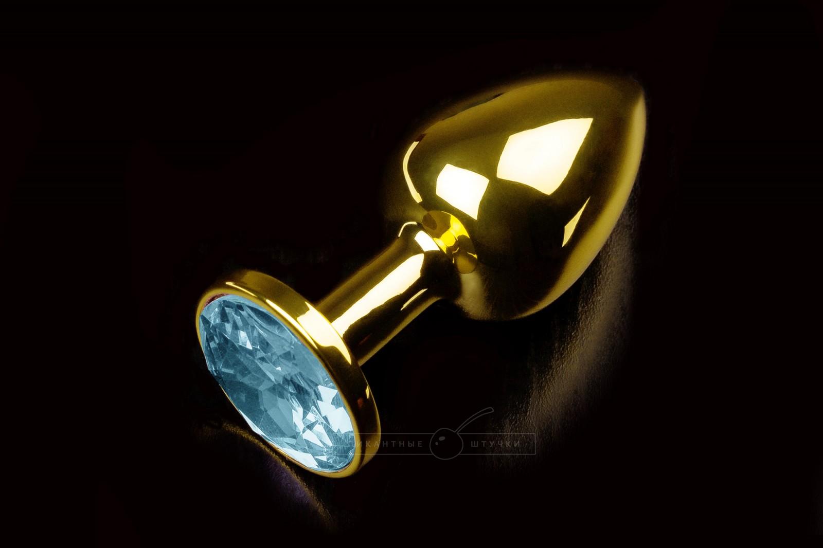 Малая золотистая анальная пробка с кристаллом, голубым