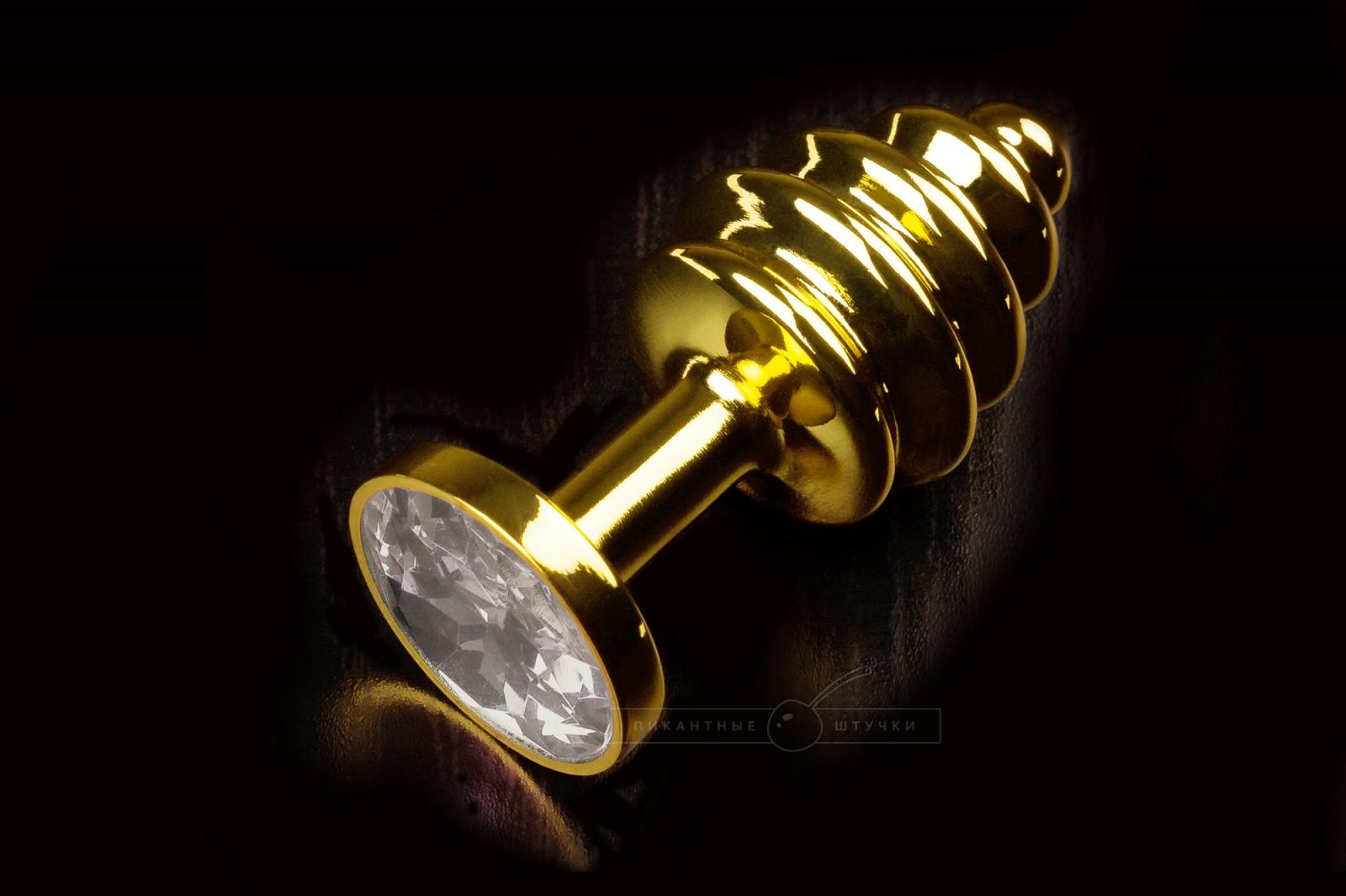 Маленькая витая анальная пробка золотистая с кристаллом, белым