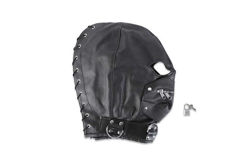 Кожаный шлем на голову с молнией и шнуровкой
