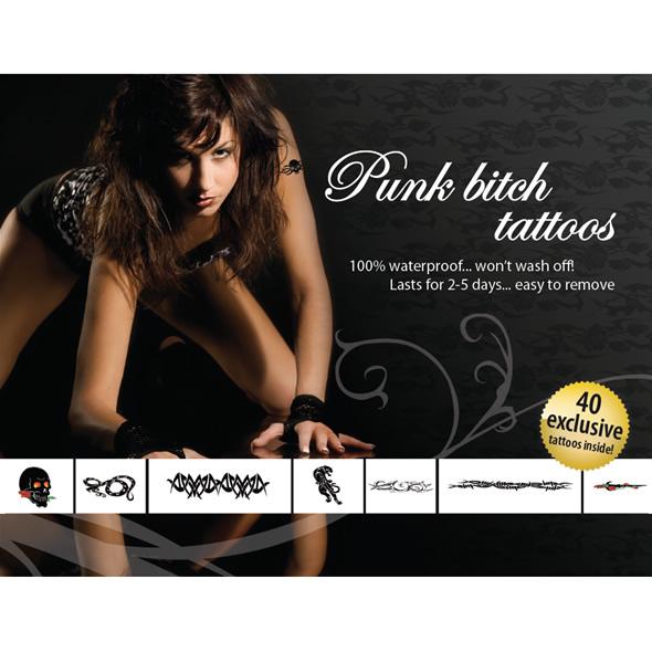Эротический набор временных татуировок Punk Bitch