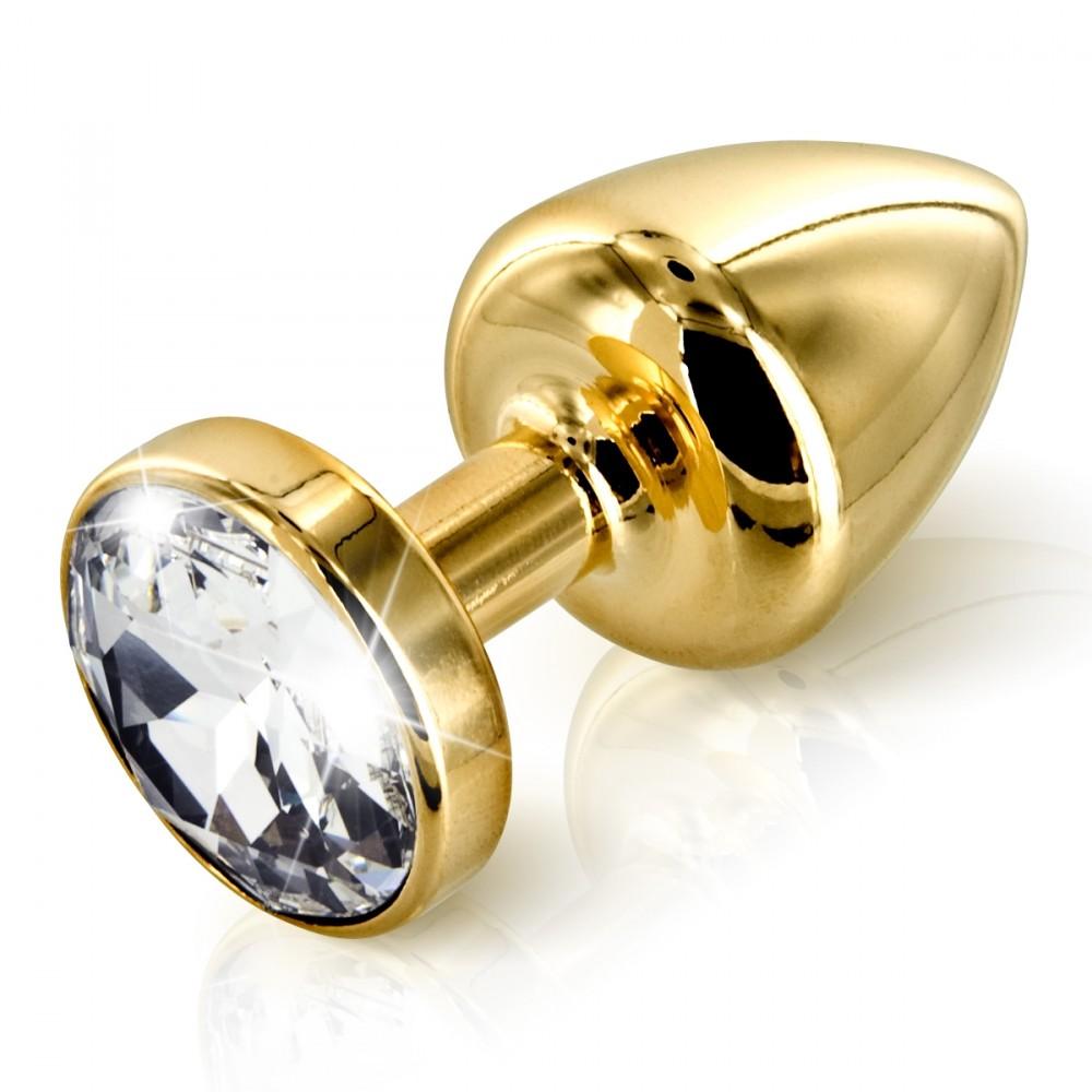 Анальная пробка страз Diogol Anni Round Gold с камнем Сваровски, золотая, 35мм
