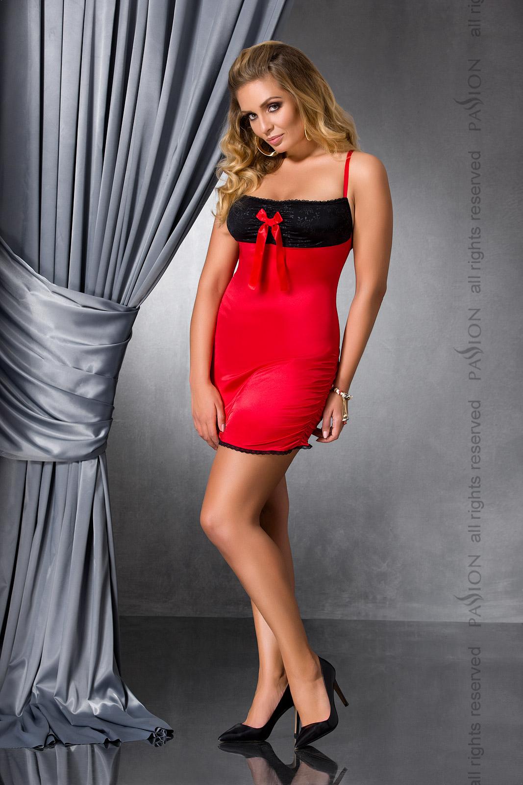Сексуальная сорочка большого размера Passion LENA CHEMISE, красная, 4XL/5XL