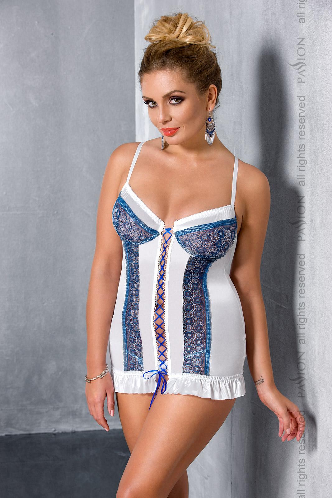 Эротическая сорочка-платье Passion ELENI CHEMISE, белая, 6XL/7XL