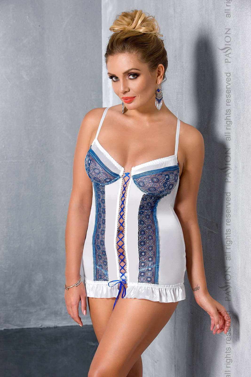 Эротическая сорочка-платье Passion ELENI CHEMISE, белая, 4XL/5XL