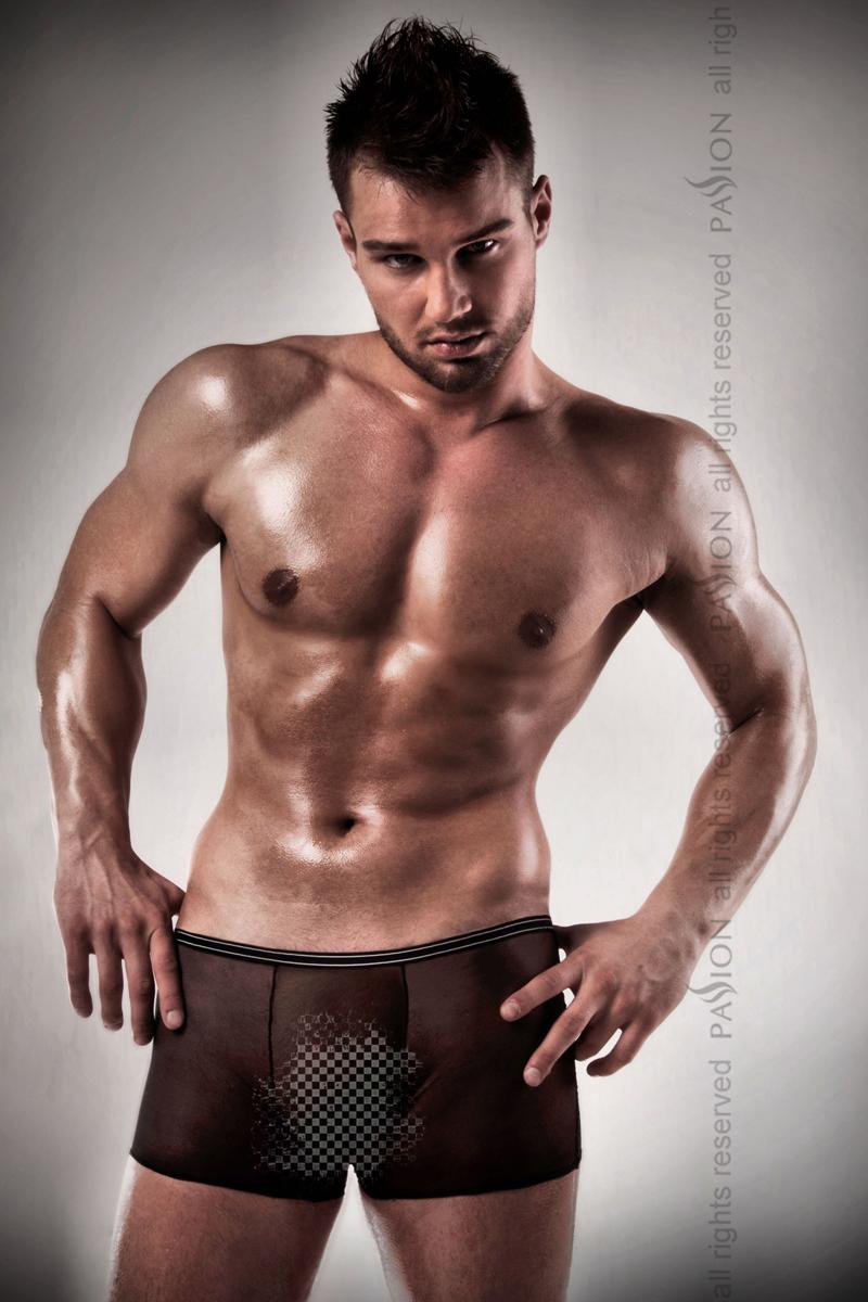 Мужские эротические прозрачные трусы Passion 025 SHORT, черный, L/XL