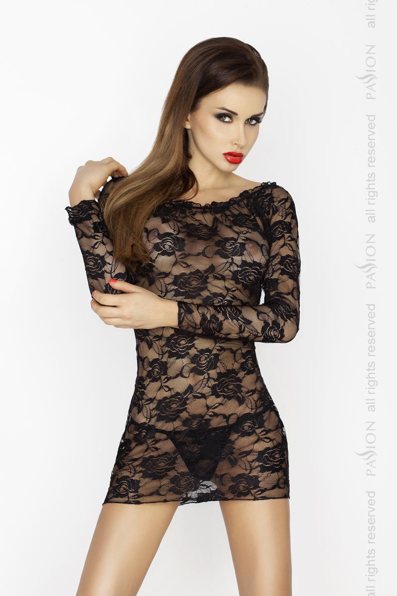 Пеньюар Passion Erotic Line YOLANDA CHEMISE, черный, S/M