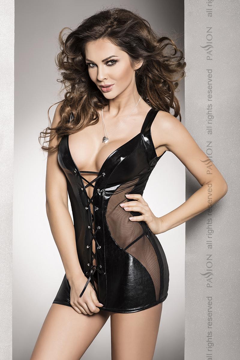 Эротическая сорочка-платье Passion DONATA CHEMISE, черный, S/M