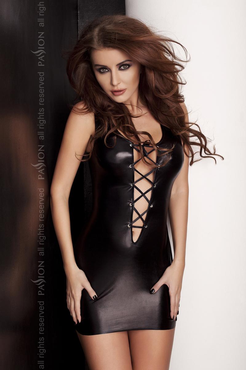 Эротическое платье под латекс Passion LIZZY DRESS, черный, XXL/XXXL