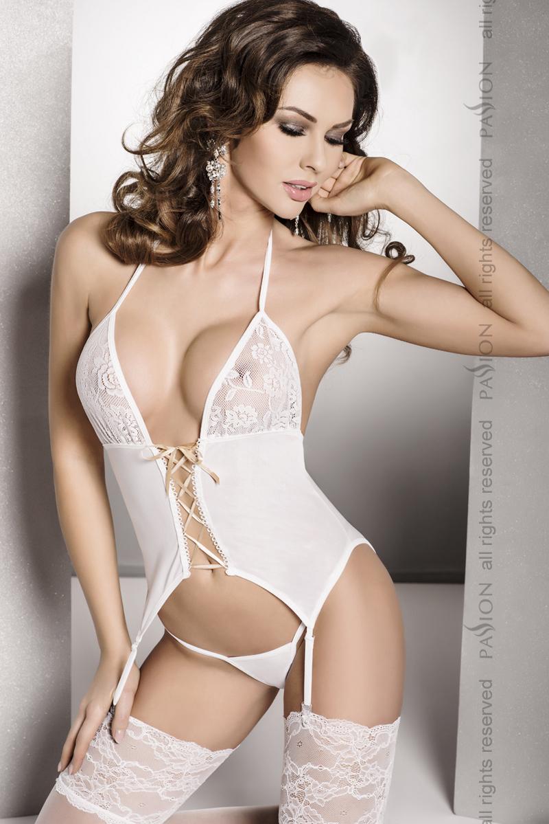 Сексуальный женский корсет Passion ROXY CORSET, белый, L/XL