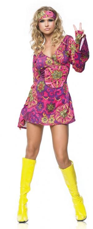 Ретро костюм девушки ХИППИ SMALL-MEDIUM