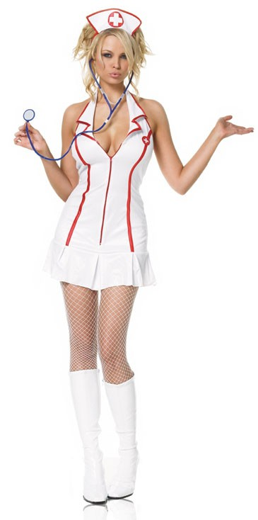 Костюм медсестры NURSE ZIPPER FRONT DRESS MED-LGE