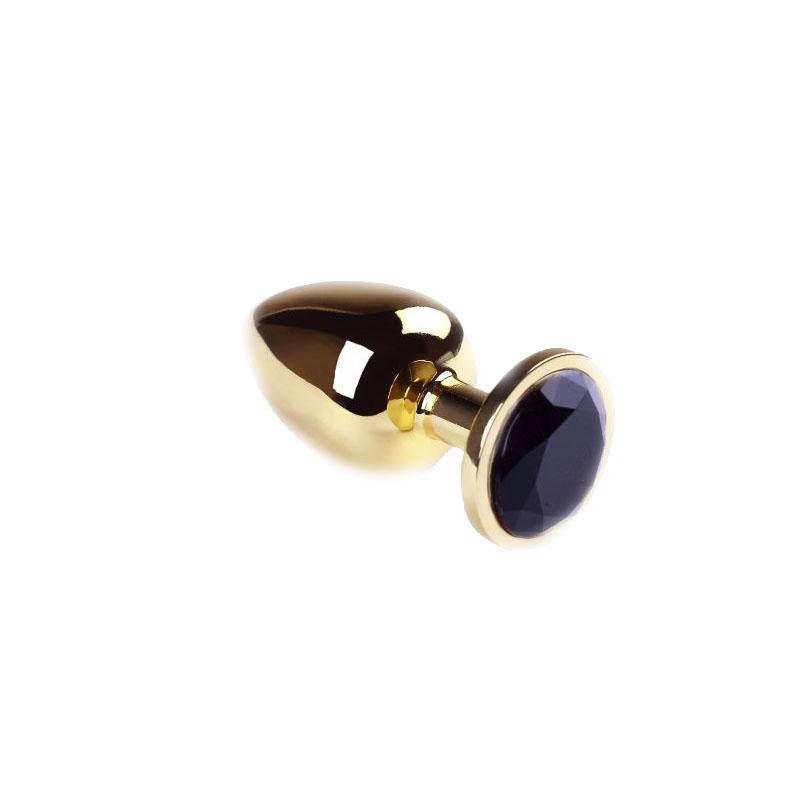 Анальная пробка Gold Black Diamond, L