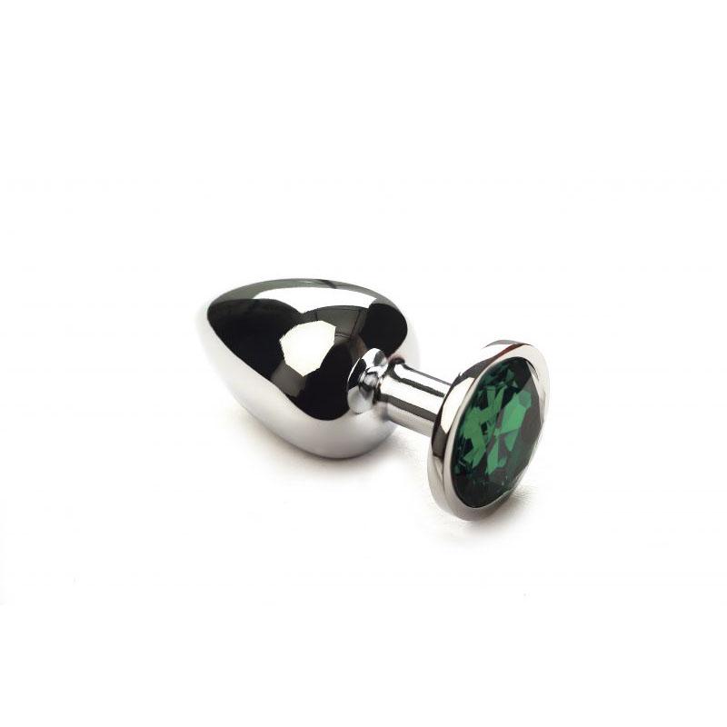 Анальная пробка Silver Emerald, L
