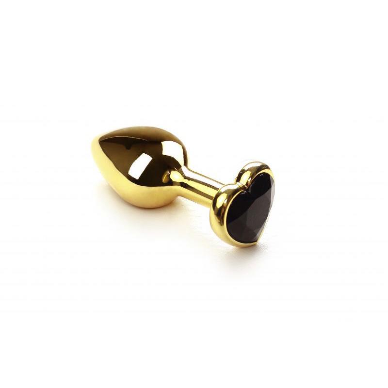 Анальная пробка SLash Gold Heart Black Diamond