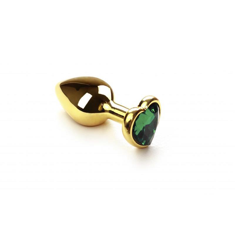 Анальная пробка SLash Gold Heart Emerald