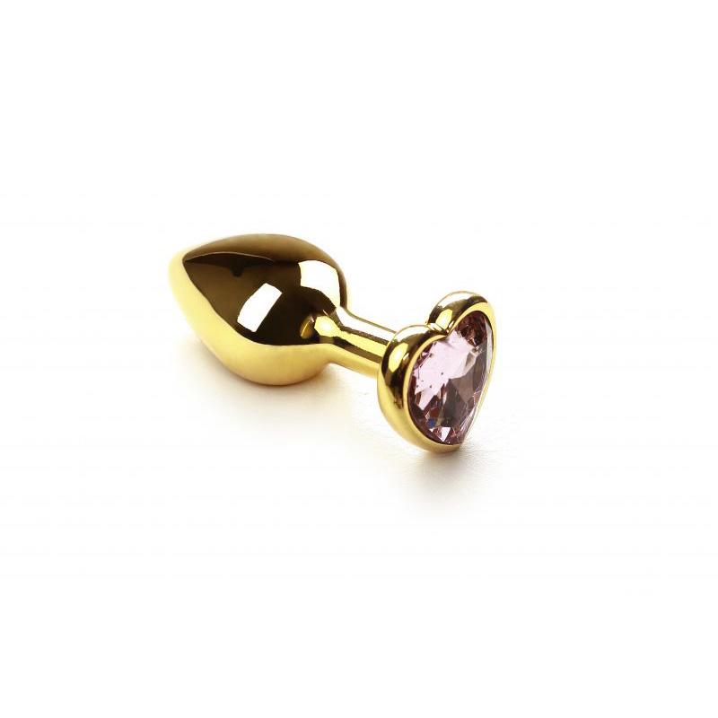 Анальная пробка SLash Gold Heart Pink Topaz
