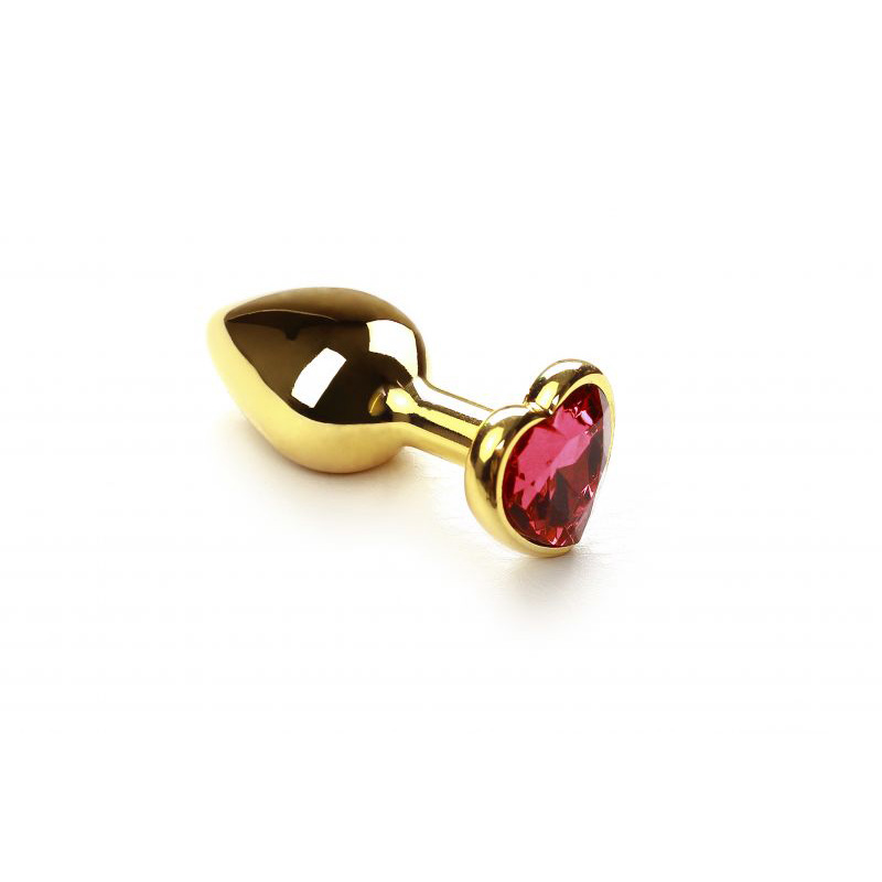 Анальная пробка SLash Gold Heart Pink-Rhodolite