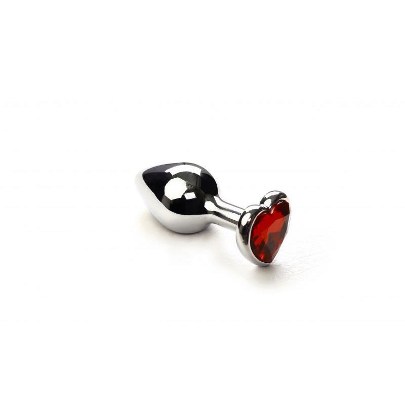 Анальная пробка SLash Silver Heart Ruby