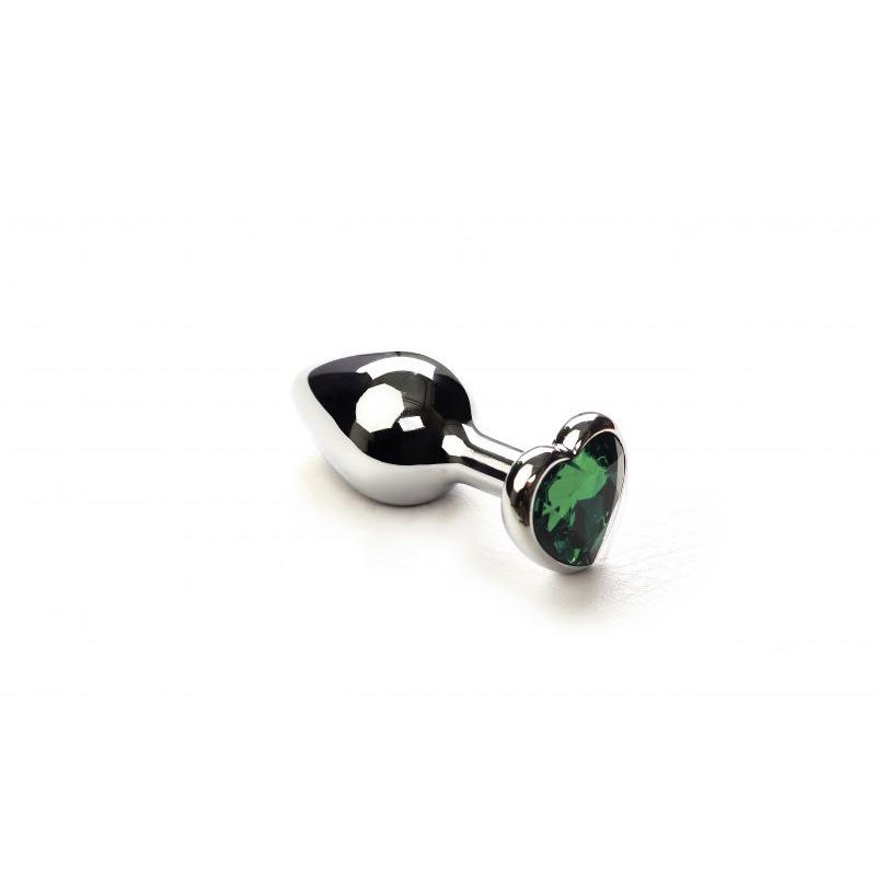 Анальная пробка SLash Silver Heart Emerald