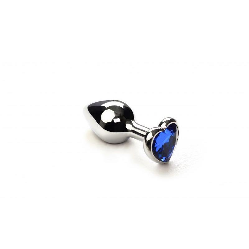 Анальная пробка SLash Silver Heart Sapphire