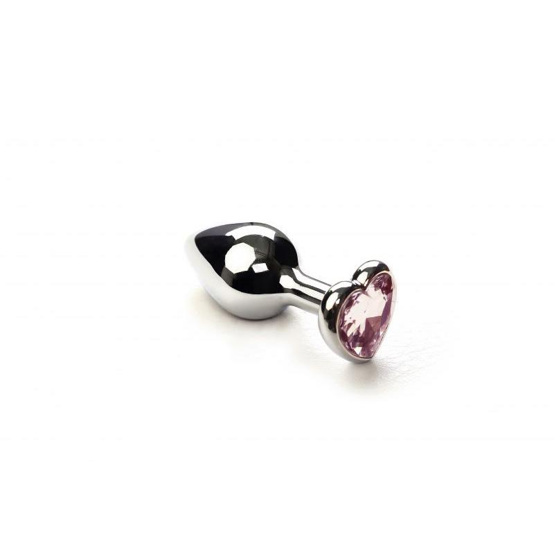 Анальная пробка SLash Silver Heart Pink Topaz