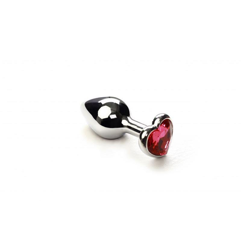 Анальная пробка SLash Silver Heart Pink-Rhodolite