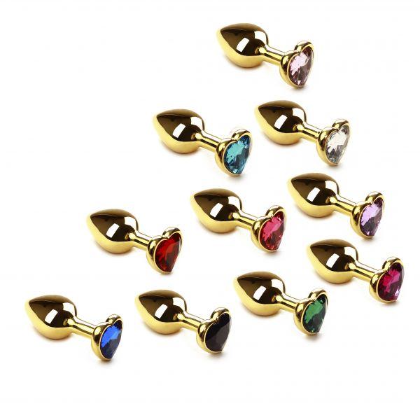 Набор анальных пробок 10 шт разных цветов Gold Heart
