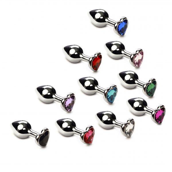 Набор анальных пробок 10 шт разных цветов Silver Heart