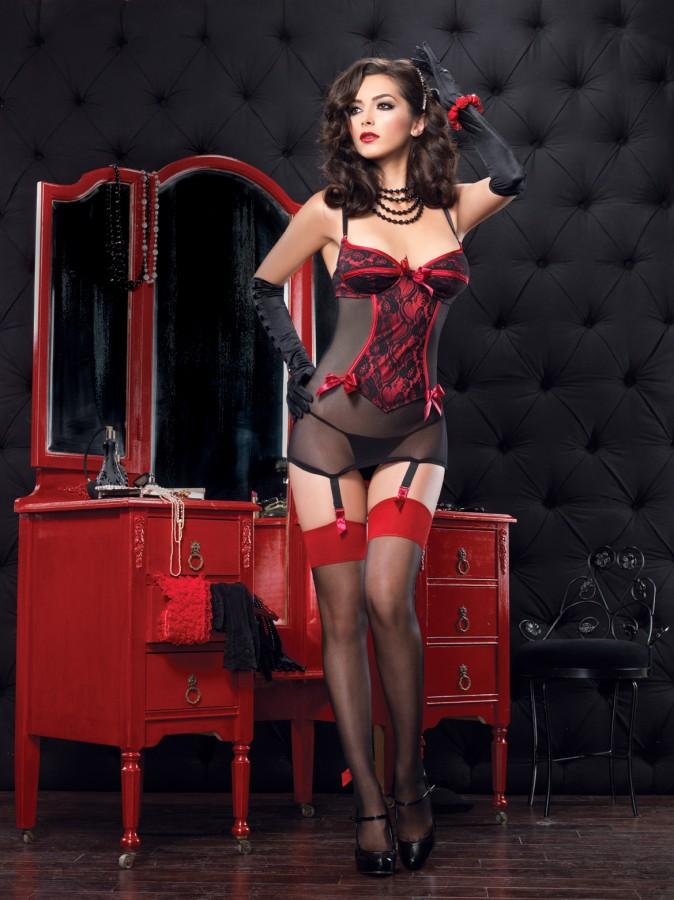Корсет и стринги ROMANCE SET BLACK RED L