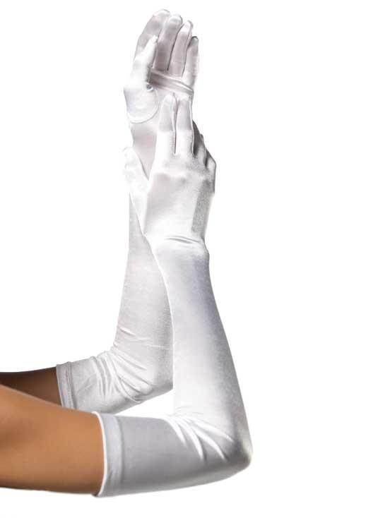 Перчатки EXTRA LONG SATIN GLOVES WHITE