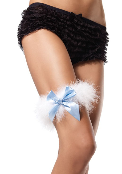 Подвязка на ногу MARABOU GARTER WHITE BLUE O-S