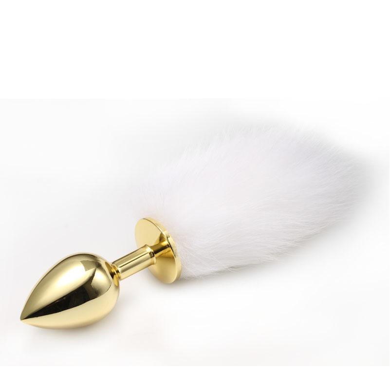 Золотистая анальная пробка с пушистым хвостом, маленькая