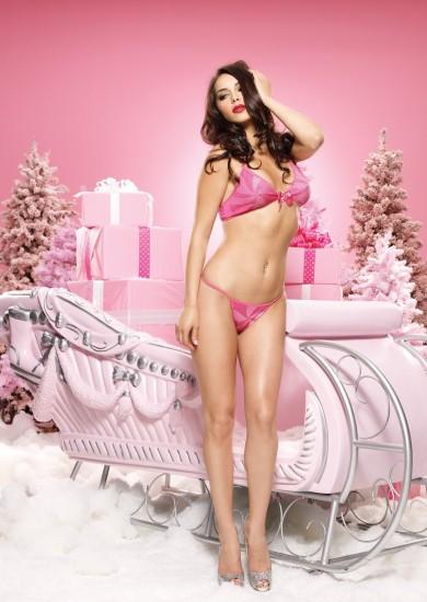 Новогодний секс комплект SOFT BRA TOP WITH BOW STRING PINK O-S